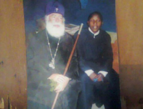 His Beatitude Patriarch Theodoros of Alexandria and all Africa together with young Fr Constantino's Eliud during His visit in Makarios 111 Seminary Kenya
